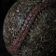 A vintage antique used baseball. 7th June 2012. Photo Tim Clayton
