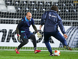SWANSEA, WALES - Thursday, February 20, 2014: SSC Napoli's goalkeeper Pepe Reina warms up before the UEFA Europa League Round of 32 1st Leg match against Swansea City at the Liberty Stadium. (Pic by David Rawcliffe/Propaganda)