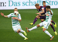 06.04.2014, Generali Arena, Wien, AUT, 1. FBL, FK Austria Wien vs SK Rapid Wien, 31. Runde, im Bild Christopher Dibon, (SK Rapid Wien, #17), Daniel Royer, (FK Austria Wien, #28) und Christopher Trimmel, (SK Rapid Wien, #28) // during Austrian Bundesliga Football 31st round match, between FK Austria Vienna and SK Rapid Vienna at the Generali Arena, Wien, Austria on 2014/04/06. EXPA Pictures © 2014, PhotoCredit: EXPA/ Thomas Haumer