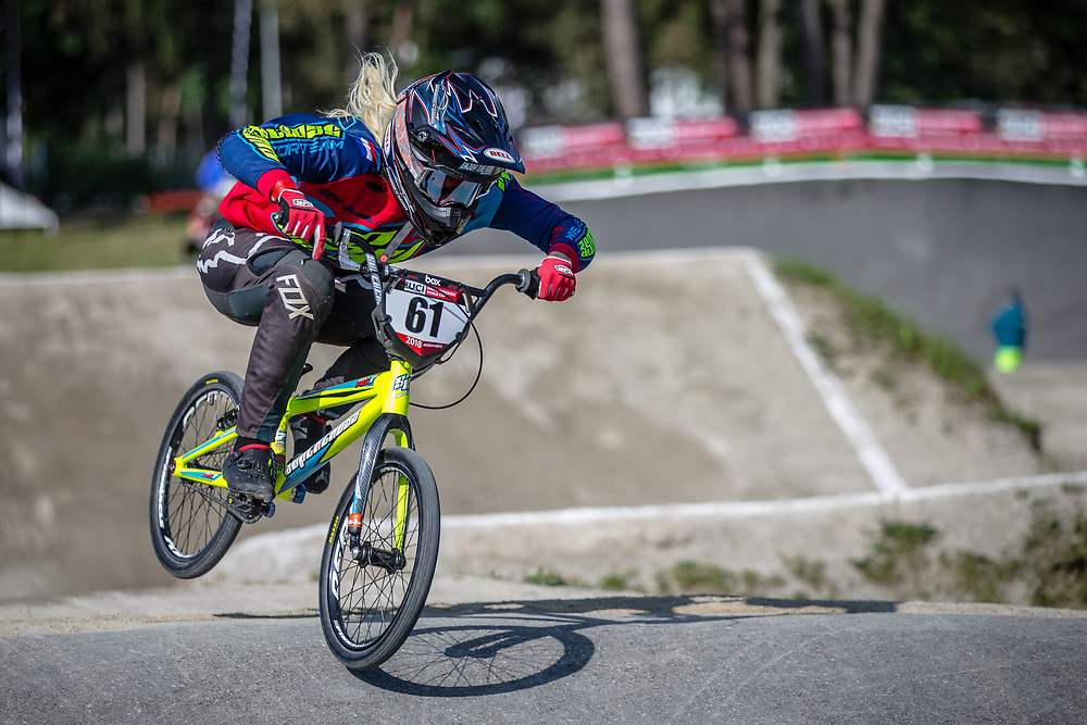 #61 (VEENSTRA Manon) NED during practice at Round 5 of the 2018 UCI BMX Superscross World Cup in Zolder, Belgium