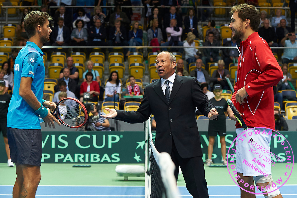 (L) Martin Klizan of Slovakia and (C) Chair Umpire Alexander Juge of France and (R) Jerzy Janowicz of Poland during Davis Cup Tie World Group Play-off Poland v Slovakia at Gdynia Arena Hall in Gdynia, Poland.<br /> <br /> Poland, Gdynia, September 20, 2015<br /> <br /> Picture also available in RAW (NEF) or TIFF format on special request.<br /> <br /> For editorial use only. Any commercial or promotional use requires permission.<br /> <br /> Adam Nurkiewicz declares that he has no rights to the image of people at the photographs of his authorship.<br /> <br /> Mandatory credit:<br /> Photo by &copy; Adam Nurkiewicz / Mediasport