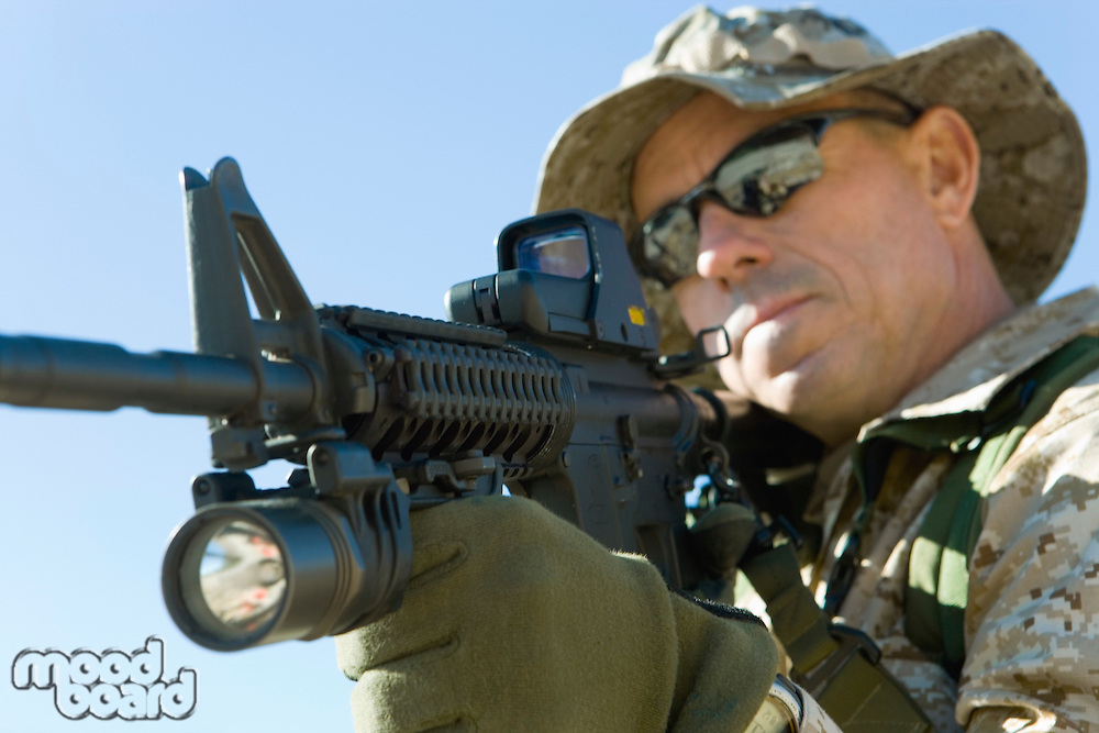 Soldier Aiming Rifle