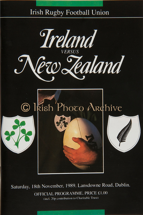Irish Rugby Football Union, Ireland v New Zealand, Friendly, Landsdowne Road, Dublin, Ireland, Saturday 18th November 1989,.18.11.1989, 11.18.1989,..Referee- A R MacNeill, A R U,..Score- Ireland 6 - 23 New Zealand,..Irish Team, ..P I Rainey,  Wearing number 15 Irish jersey, Full Back, Ballymena Rugby Football Club, Northern Ireland,..K J Hooks, Wearing number 14 Irish jersey, Right Wing, Ards Rugby Football Club, Ireland,..B J Mullin, Wearing number 13 Irish jersey, Right Centre, London Irish Rugby Football Club, London, England,  ..D G Irwin, Wearing number 12 Irish jersey, Left Centre, Instonians Rugby Football Club, Belfast, Northern Ireland, ..K D Crossan, Wearing number 11 Irish jersey, Left Wing, Instonians Rugby Football Club,  Ireland,..B A Smith, Wearing number 10 Irish jersey, Out Half, Oxford Rugby Football Club, England,..F P Aherne, Wearing number 9 Irish jersey, Scrum Half, Lansdowne Rugby Football Club, Dublin, Ireland,..N P Mannion, Wearing number 8 Irish jersey, Forward, Corinthians Rugby Football Club, Gaway, Ireland,..P T J O'Hara , Wearing number 7 Irish jersey, Forward, Sundays Well Rugby Football Club, Cork, Ireland, ..P M Mathews, Wearing number 6 Irish jersey, Forward, Wanderers Rugby Football Club, Dublin, Ireland,..W A Anderson, Wearing number 5 Irish jersey, Captain of the Irish team, Forward, Dungannon Rugby Football Club, Tyrone, Northern Ireland, ..D G Lenihan, Wearing number 4 Irish jersey, Forward, Cork Constitution Rugby Football Club, Cork, Ireland,..J J Mcoy, Wearing number 3 Irish jersey, Forward, Bangor Rugby Football Club, Down, Northern Ireland,..S J Smith, Wearing number 2 Irish jersey, Forward, Ballymena Rugby Football Club, Antrim, Northern Ireland, ..N J Popplewell, Wearing number 1 Irish jersey, Forward, Greystones Rugby Football Club, Dublin, Ireland,..New Zealand Team, ..J A Gallagher, Wearing number 15 New Zealand jersey, Full Back, Wellington Rugby Football Club, New Zealand,..C R Innes, Wearing number 14 New Zealand j