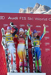 15.01.2012, Pista Olympia delle Tofane, Cortina, ITA, FIS Weltcup Ski Alpin, Damen, Super G, Podium, im Bild Maria Hoefl-Riesch (GER), Lindsey Vonn (USA, Rang 1) und Tina Maze (SLO, Rang 3) // Maria Hoefl-Riesch of Germany, first place Lindsey Vonn of USA and third place Tina Maze of Slovenia on podium during superG race of FIS Ski Alpine World Cup at 'Pista Olympia delle Tofane' course in Cortina, Italy on 2012/01/15. EXPA Pictures © 2012, PhotoCredit: EXPA/ Johann Groder