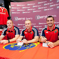 NEW MUNSTER RUGBY JERSEY   Munster?s Paul O'Connell , Keith Earls and Alan Quinlan at the official adidas in-store launch of the new adidas Munster jersey in Elvery's, Crescent Shopping Centre, Limerick.. - Photo: Kieran Clancy / PicSure   29/8/09<br /> ©<br />  For further information please contact<br /> work(01) 6690136<br /> 0876601908<br /> Greg.Keane@ogilvy.com<br /> <br /> kieran@picsure.ie         087-2532015