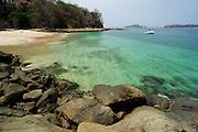 Sport boat anchored  in Contadora island shore. Las Perlas archipelago, Panama province, Panama, Central America.