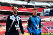 AFC Wimbledon midfielder Alfie Eagan (28) and AFC Wimbledon defender Callum Kennedy (23) walking onto pitch during the The FA Cup 3rd round match between Tottenham Hotspur and AFC Wimbledon at Wembley Stadium, London, England on 7 January 2018. Photo by Matthew Redman.