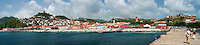 St. Georges, Grenada Panorama From the Cruise Dock Pier. Composite of 4 images taken with a Nikon D3s and 50 mm f/1.4G lens (ISO 200, 50 mm, f/11, 1/80 sec).