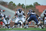 Justin Bell (68) at Mississippi's Grove Bowl controlled scrimmage at Vaught-Hemingway Stadium in Oxford, Miss. on Saturday, April 5, 2014.