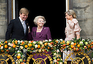 Amsterdam, 30-04-2013<br /> <br /> His Majesty King Willem-Alexander, Her Majesty Queen Maxima and Her Royal Highness Princess Beatrix of the Netherlands appeared on the balcony of the Royal Palace Amsterdam. Princess Beatrix and the King both gave<br /> a short address, after which the Wilhelmus was be played. Her Royal Highness the Princess of Orange and Their Royal Highnesses Princess Alexia and Princess Ariane joined their parents on the balcony.<br /> <br /> Photo/Royalportraits Europe /Bernard Rubsamen