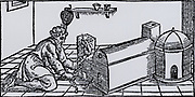 Condensing mercury vapour that has been distilled from mercury-bearing ore.  From 'De la pirotechnia' by Vannoccio Biringuccio (Venice, 1540).