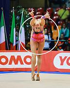 Ganna Rizatdinova atleta della società San Giorgio Desio durante la seconda prova del Campionato Italiano di Ginnastica Ritmica.<br /> La gara si è svolta a Desio il 31 ottobre 2015.<br /> Ganna è un atleta Ucraina nata nella città di Simferopol nel 1993.