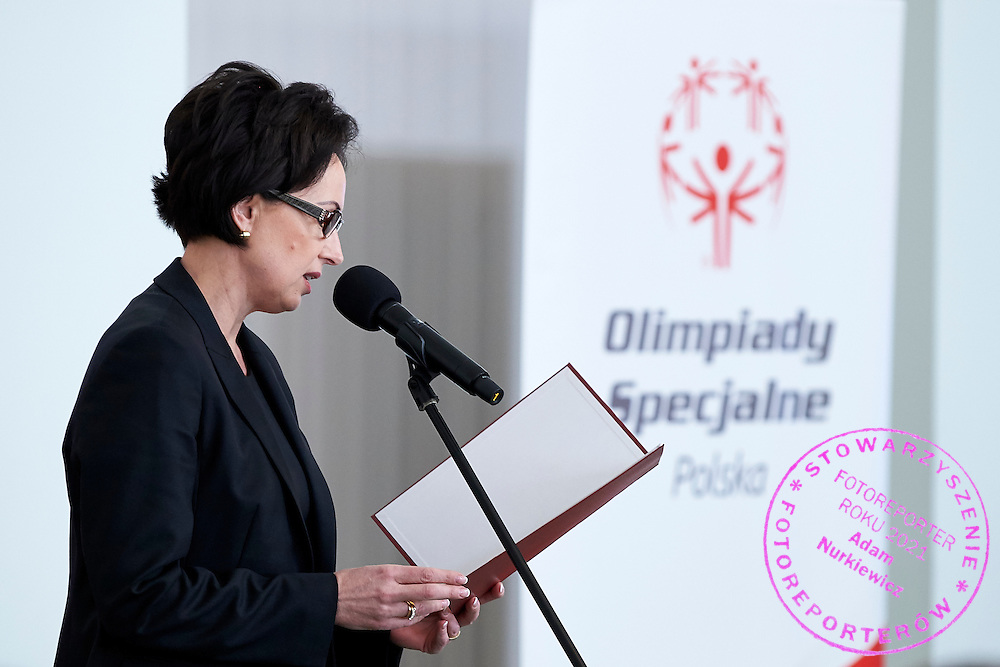 Dorota Idzi during 30 years anniversary of The Special Olympics Poland at Presidential Palace in Warsaw on March 18, 2015.<br /> <br /> Poland, Warsaw, March 18, 2015<br /> <br /> For editorial use only. Any commercial or promotional use requires permission.<br /> <br /> Mandatory credit:<br /> Photo by &copy; Adam Nurkiewicz / Mediasport