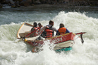 Rafting through Crystal Rapid down the Grand Canyon. Grand Canyon NP, AZ.