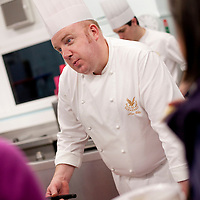 Picture Shows : Alan Gibb Executive Chef of Gleneagles Hotel..Muthill Primary School, Muthill by Crieff, Perthshire, Scotland stage an evening of international cooking to celebrate their joint work with a partner school Juliet Johnson School, Ghana which is visiting this week. They have strong links with the Ghanians and have helped to raise money to contribute toward funding a new school bus.   Feature for TESS..Picture Drew Farrell Tel : 07721-735041