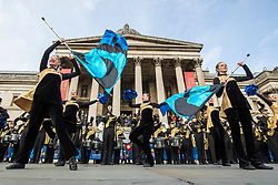 © Licensed to London News Pictures. 30/12/2017. London, UK. Barrington High School Marching Band from Illinois, USA, at the preview of the London New Year's Day Parade in Trafalgar Square. Photo credit: Rob Pinney/LNP