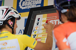 Lizzie Armitstead signs in for the final stage at Aviva Women's Tour 2016. Stage 5, a 113.2 km road race from Northampton to Kettering, UK on June 19th 2016.