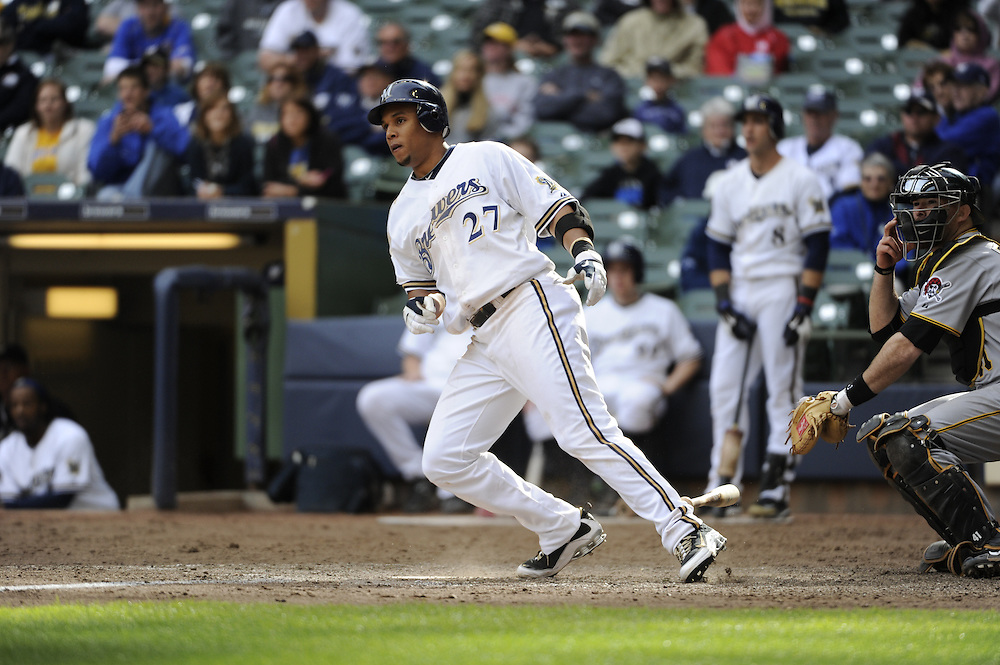 MILWAUKEE - APRIL 28:  Carlos Gomez #27 of the Milwaukee Brewers bats against the Pittsburgh Pirates on April 28, 2010 at Miller Park in Milwaukee, Wisconsin.  The Pirates defeated the Brewers 6-5 in 14 innings.  (Photo by Ron Vesely)