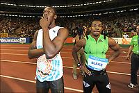 Friidrett<br /> IAAF Diamond League<br /> Brussel 16.09.2011<br /> Foto: PhotoNews/Digitalsport<br /> NORWAY ONLY<br /> <br /> Usain Bolt - Yohan Blake (JAM)