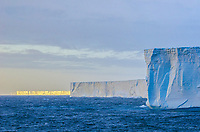 The colossal 165 sq mile tabular iceberg B-17a that calved off the Ross Ice-shelf in 2000 and has circumnavigated the Antarctica continent and is now grounded just south of South Georgia Island.