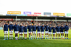 Bristol Bears during the act of Remembrance before kick off - Rogan/JMP - 10/11/2019 - RUGBY UNION - Sandy Park - Exeter, England - Exeter Chiefs v Bristol Bears - Gallagher Premiership.
