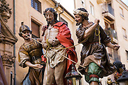 Semana Santa (Holy Week), Salamanca, Spain.  Street processions are organized in most Spanish towns each evening, from Palm Sunday to Easter Sunday. People carry statues of saints on floats or wooden platforms, and an atmosphere of mourning can seem quite oppressive to onlookers.