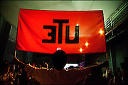 A banner of &quot;Universidad Tecnica del Estado&quot;, the university where Victor Jara was made prisoner by state agents.<br /> After 36 years, Chile's most popular folk singer, Victor Jara was mourned and buried. About 10.000 people attended to his vigil and funeral. Victor Jara was assassinated on September 15 1973 by Pinochet`s military officials of at least 43 gunshots and massive beatings. His 1973 funeral had to be made in private because of military restrictions.
