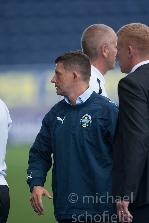 Morton's manager Allan Moore and Falkirk's manager Gary Holt  at the end.<br /> Falkirk 3 v 1 Morton, Scottish Championship 17/8/2013.<br /> &copy;Michael Schofield.