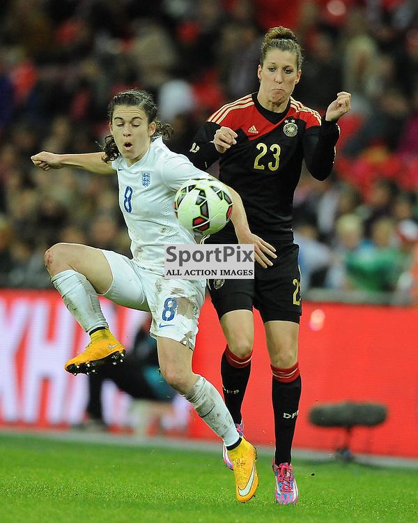 England's Karen Carney, battles with Germays Verena Faibt, England v Germany Ladies, Breast Cancer Care International, Wembley , Sunday 23rd November 2014