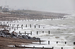 © Licensed to London News Pictures. 14/08/2019. West Sussex, UK. Wet and windy weather hits the seafront at Worthing on the south coast. Parts of the United Kingdom are exeriencing heavy unseasonable rain today. Photo credit: Peter Macdiarmid/LNP
