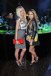 Left to right, NOELLE RENO and ZARA MARTIN at a party to launch the Dom Perignon Luminous label held at No.1 Mayfair, London on 24th May 2011.