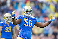 17 October 2012: Defensive end (56) Datone Jones of the UCLA Bruins pumps up the crowd while playing against the USC Trojans during the second half of UCLA's 38-28 victory over USC at the Rose Bowl in Pasadena, CA.