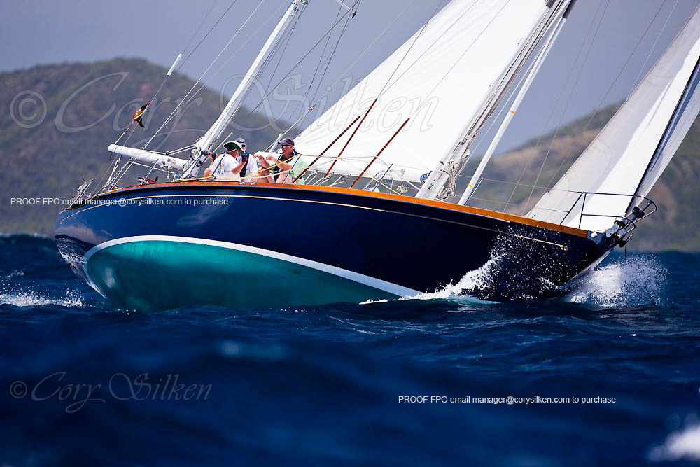 Godspeed sailing in the 2010 Antigua Classic Yacht Regatta, Windward Race, day 4.