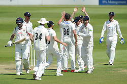 Matt Taylor of Gloucestershire celebrates with his team mates after Aviro Petersen of Lancashire is out for LBW - Photo mandatory by-line: Dougie Allward/JMP - Mobile: 07966 386802 - 07/06/2015 - SPORT - Football - Bristol - County Ground - Gloucestershire Cricket v Lancashire Cricket - LV= County Championship