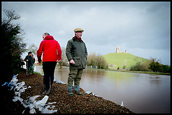 UKIP Leader Nigel Farage looks out onto the flood near Burrowbridge, Somerset, United Kingdom. Sunday, 9th February 2014. Somerset has been flooded since the start of 2014, with people being forced to leave their homes. Picture by Andrew Parsons / i-Images