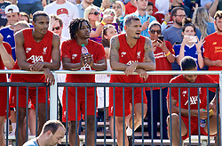 SOUTH BEND, INDIANA, USA - Thursday, July 18, 2019: Liverpool players go into the stands for a photograph with the supporters after a training session ahead of the friendly match against Borussia Dortmund at the Notre Dame Stadium on day three of the club's pre-season tour of America. Joel Matip, Yasser Larouci, Dejan Lovren. (Pic by David Rawcliffe/Propaganda)