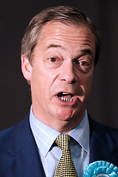 Brexit Party Rally, Edinburgh, Friday 17th May 2019<br /> <br /> The Brexit Party held a rally in the Corn Exchange, Edinburgh today with leader Nigel Farage giving a speech.<br /> <br /> A protest was held outside by the Stand Up To Racism group.<br /> <br /> Pictured: Nigel Farage meets the press before the rally<br /> <br /> Alex Todd | Edinburgh Elite media