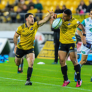 Nehe Milner-Skudder reaches for the ball during the Super rugby (Round 12) match played between Hurricanes  v Lions, at Westpac Stadium, Wellington, New Zealand, on 5 May 2018.  Hurricanes won 28-19.