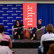 Virginia Prescott interviews Brooke Gladstone at a live event at UNH in September, 2014