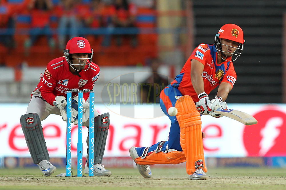 Ishan Kishan of Gujrat Lions plays a shot during match 28 of the Vivo IPL 2016 ( Indian Premier League ) between the Gujarat Lions and the Kings XI Punjab held at Saurashtra Cricket Association Stadium, Rajkot, India on the 1st May 2016Photo by Prashant Bhoot / IPL/ SPORTZPICS