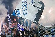 &Ouml;STERSUND, SWEDEN - 2017-09-28: Fans till Hertha Berlin t&auml;nder bengaler under UEFA Europa League group J matchen mellan &Ouml;stersunds FK och Hertha Berlin SC p&aring; J&auml;mtkraft Arena den 28 September, 2017 in &Ouml;stersund, Sweden. Foto: Nils Petter Nilsson/Ombrello<br /> ***BETALBILD***