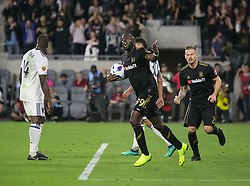 November 1, 2018 - Los Angeles, California, U.S - Adama Diomande #99 of the LAFC during celebrates after teammate Danilo Silva #6(not in photo) scored a goal during their MLS playoff game with the Real Salt Lake on Thursday November 1, 2018 at Banc of California Stadium in Los Angeles, California. LAFC vs Real Salt Lake. (Credit Image: © Prensa Internacional via ZUMA Wire)
