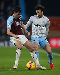 Jack Cork of Burnley (L) is nutmegged by Felipe Anderson of West Ham United - Mandatory by-line: Jack Phillips/JMP - 30/12/2018 - FOOTBALL - Turf Moor - Burnley, England - Burnley v West Ham United - {event}