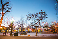 Christmas lights on The Plaza in Santa Fe, New Mexico