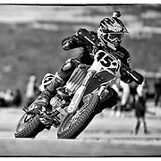 June 26, 2011; Colorado Springs, Colorado, rider Mark Niemi (152) of Texas comes around Devil's Playground in the Supermoto 450 division, Pikes Peak International Hill Climb.Mandatory Credit: Kostas Lymperopoulos