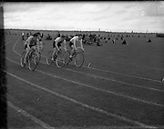 28/07/1956<br /> 07/28/1956<br /> 28 July 1956<br /> Athletics- All Ireland Athletic and Cycling Championships at the Iveagh Grounds, Dublin. Image shows the cycling.