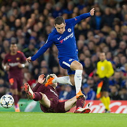 Ivan Rakitic of Barcelona tacles Eden Hazard of Chelsea during the Champions League match between Chelsea and Brcelona at Stamford Bridge, London on Tuesday 20th February 2018.  (C) Steven Morris | SportPix.org.uk
