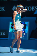 Maria Sharapova (RUS) faced K. Knapp (ITA) during Australian Open day 4 play . Temperatures are at all time highs in Melbourne and expected to hit 44 C / 111.2 F today.