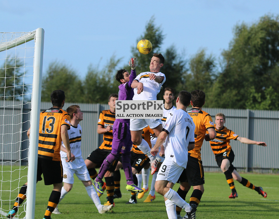 Grant Gallachers header goes over during the Dumbarton FC v Alloa FC Scottish Championship 5th September 2015 <br /> <br /> (c) Andy Scott | SportPix.org.uk