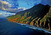 Aerial image of the Na Pali Cliffs in Kauai, Hawaii, Hawaiian Islands